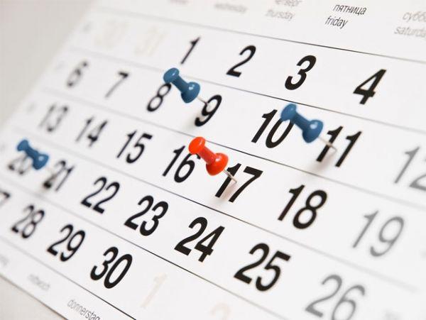 Calendario degli eventi in programma